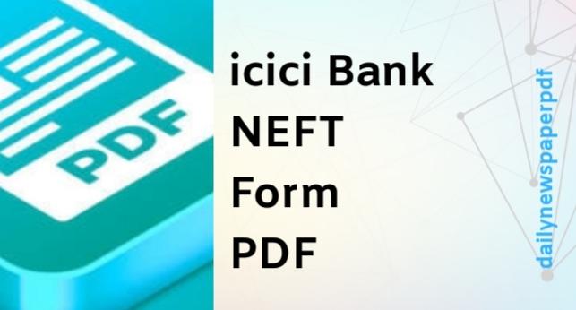ICICI Bank NEFT Form PDF