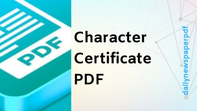 Character Certificate PDF